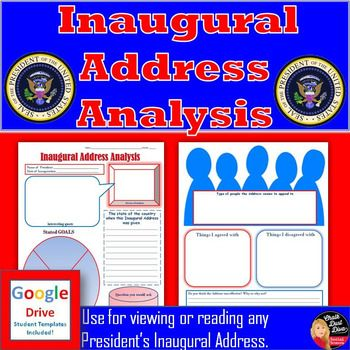 Inaugural Speech Viewing Guide for ANY President (Print and Digital) Use this 2-page template when having your students read or view the Inaugural Address for ANY President. Several diverse, critical-thinking questions are included. Both Print and Google Drive versions are included! Pin it Now!
