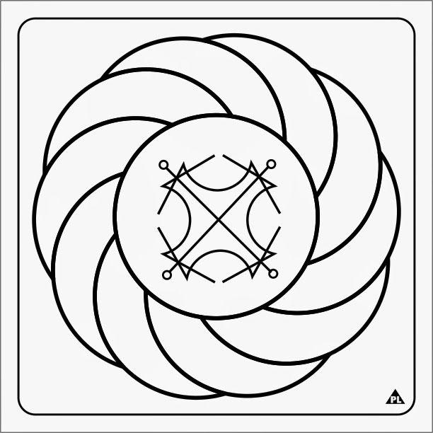 TURBILHÃO COM SOL -  Círculo circundado por arcos girando no sentido horário. Acelera o processo de precipitação de objetivos materiais. Ajuda na compreensão de quem somos e a forma de comportamento dos outros Também indicado para problemas de saúde.
