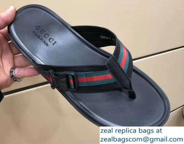 dd2dd599b83 Gucci Leather and Web Men  s Thong Sandals 429362 2018 Luxury Shoes