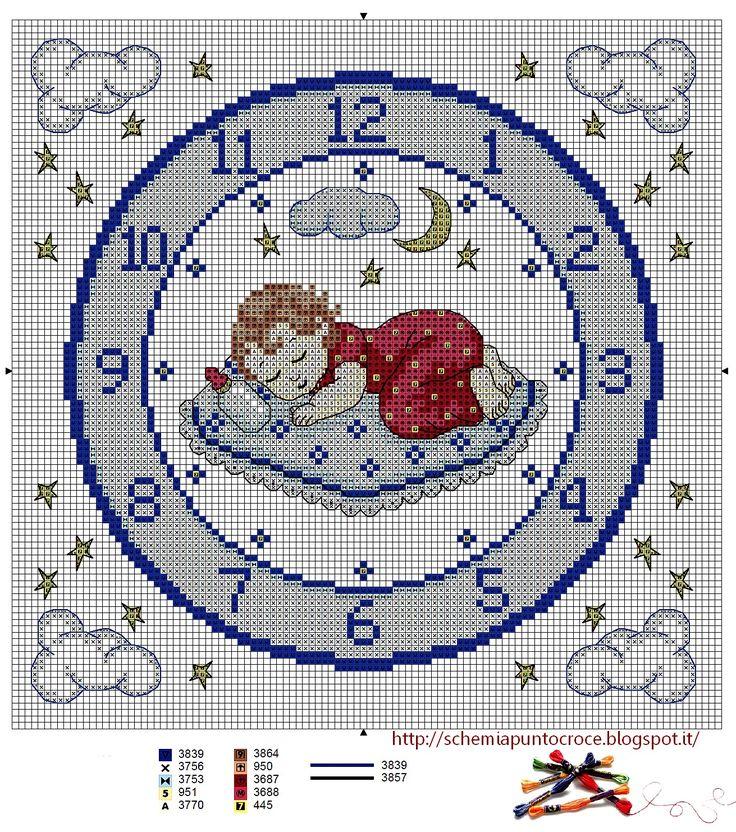 Schemi a punto croce gratuiti per tutti: Punto croce per bambini: orologio azzurro