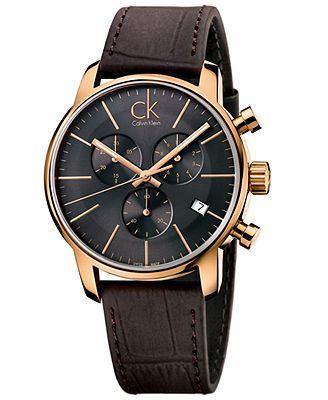 ck Calvin Klein Men's Swiss Chronograph City Brown Leather Strap Watch 43mm K2G276G3