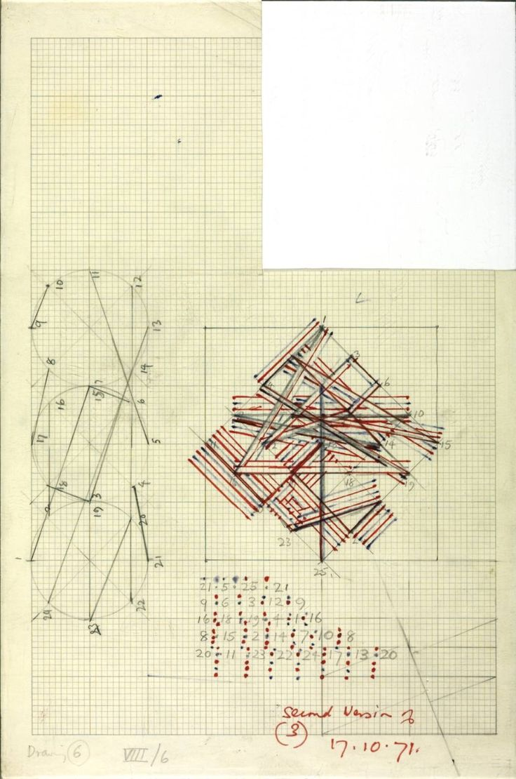 kenneth martin - chance and order group VIII drawing 6 - pencil and ink on graph paper