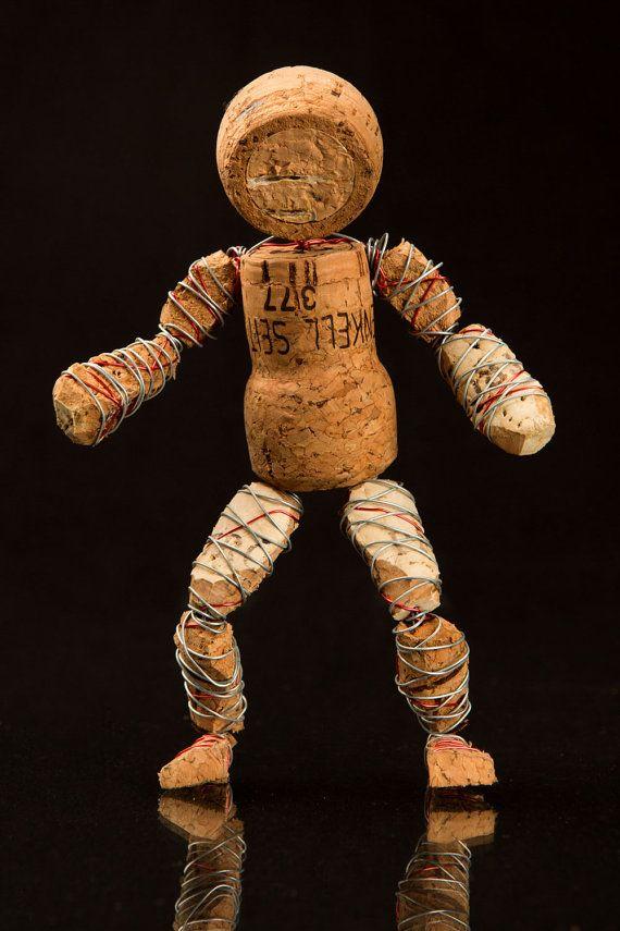 Wine Corks Art Sculpture Cheeky Cork by Corkmen on Etsy