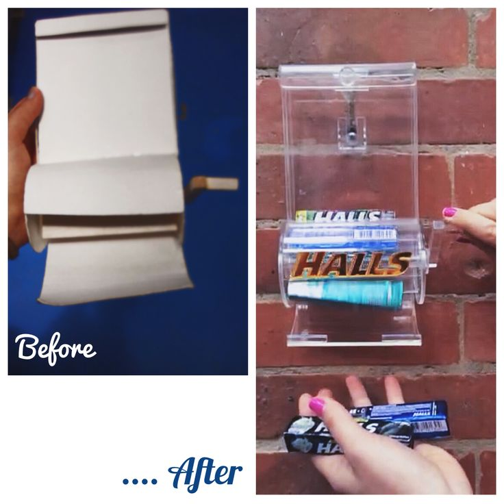 Before & after Halls dispenser/ Antes y después del dispensador  de Halls.   Materiales y Procesos- 3rd. Semester.  By: Yoyi Vergara G.