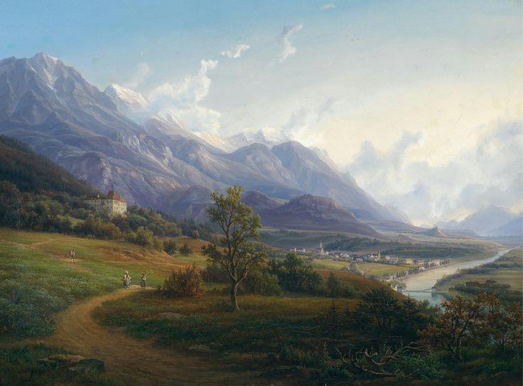 https://flic.kr/p/p86e9Z   Anton Schiffer - Ansicht von Jenbach mit Schloß Tratzberg im Inntal