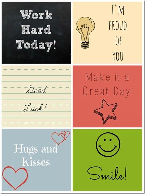 Free Lunch Box Notes Printable