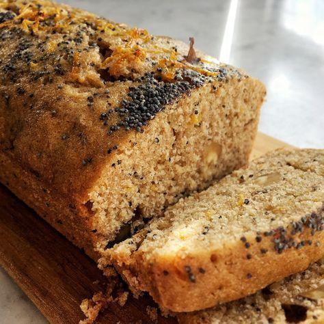 Budin integral de Naranja, nueces y semillas de amapola Reemplazar azucar por stevia y añadir una parte de harina de avena