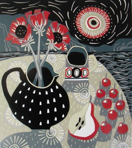 """""""Spotted Jug, Pear and Cherries"""" Linocut Edition:12..Each print is created from a single block."""