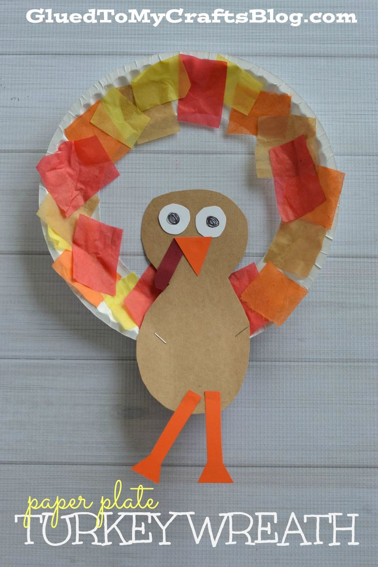 Paper Plate Turkey Wreath - Kid Craft