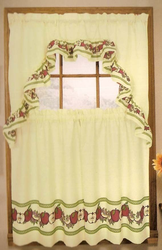 apples curtains complete kitchen sets apples is a complete set window set the set includes one pair of tailored tiers 60 w x 36 l one swag topper - Tier Curtains