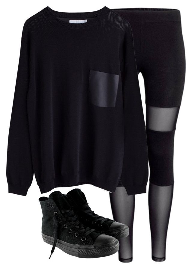 """Untitled #1580"" by anjaleea-fizzy ❤ liked on Polyvore featuring Converse"