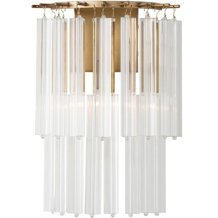 Two tiers of layered faceted glass rods hang individually from an antique brass frame covering the single light. Elegant and sophisticated. Shown with small clear tubular bulb.  <b>Material: Steel/Glass Finish: Antique Brass/Fluted</b>  <i>Assembly Required</i>