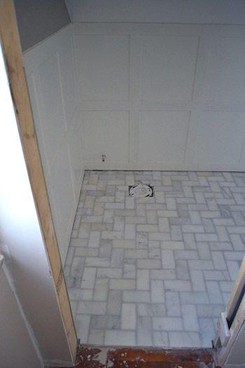Marble Herringbone Floor Tile Pattern With Whisper Grey Grout Bathrooms Pinterest