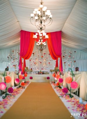 contemporarty pink and white 2-indian-wedding-indoor-ceremony-fabric-decor