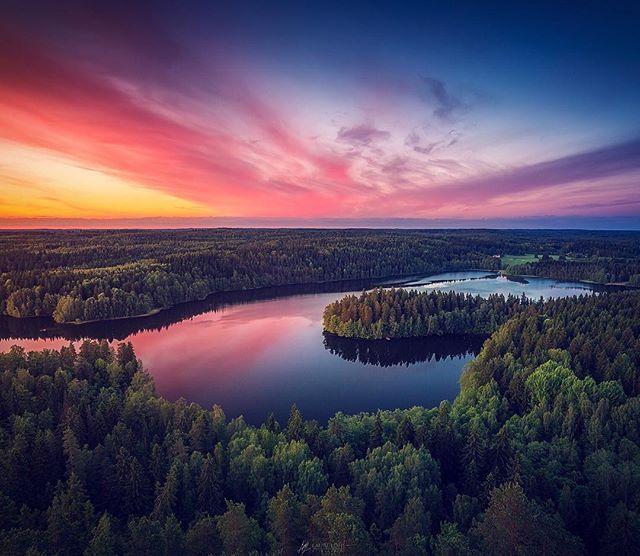 Aulangonjärvi from above. Taken yesterday at Aulanko Nature reserve, Hämeenlinna, Finland. By Lauri Lohi