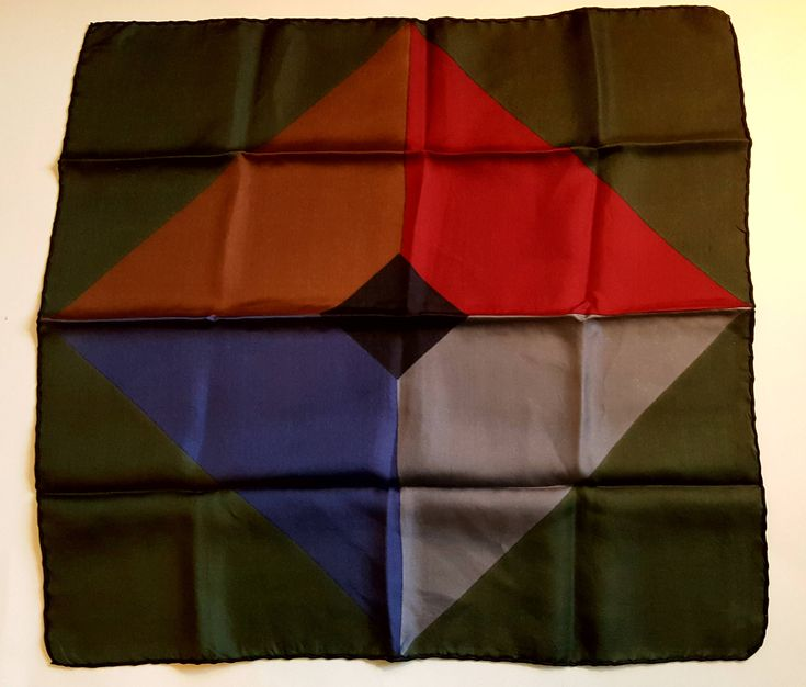 GENTLEMEN'S Silk Pocket Handkerchief / Hankie / 18x19 / Great Colors / Hand Rolled / Outstanding Vintage / Gift Quality / by BeautyFromThePast on Etsy