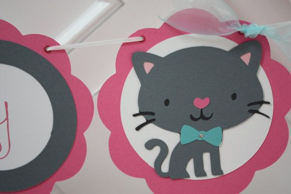 Kitty Cat Pink Happy Birthday Banner with Cat by JesParkerEvents, $40.00