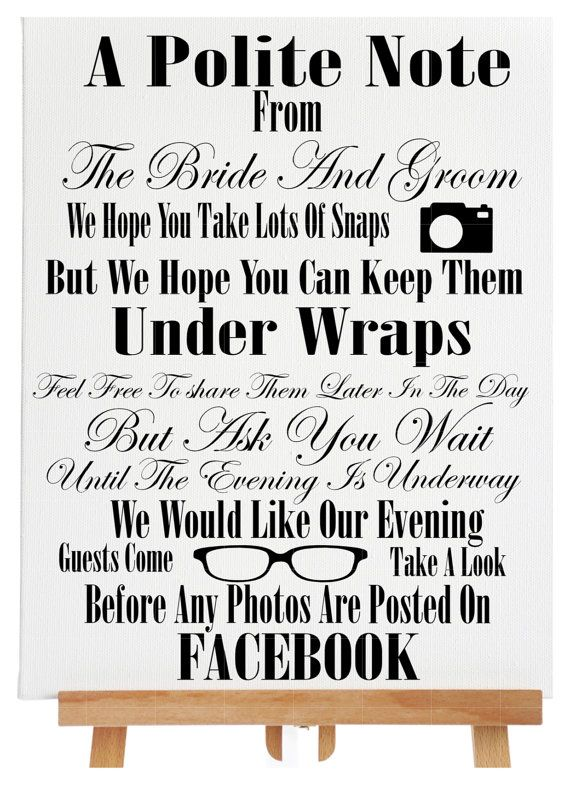 polite notice sign wedding photos sign wedding by