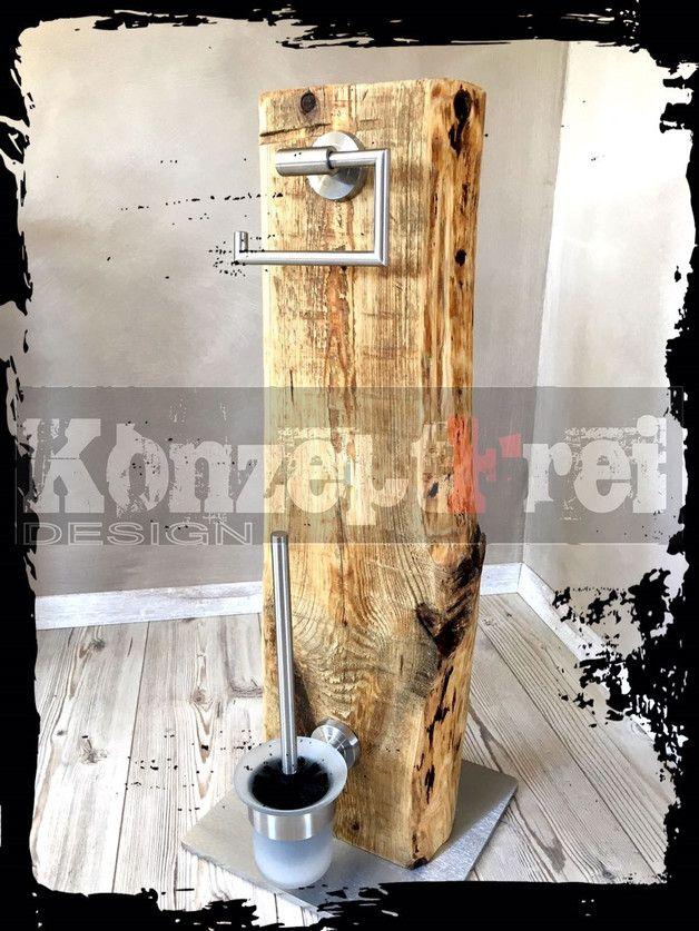 Zum Verkauf steht hier ein absolutes Unikat aus dem Hause **KonzeptFrei**. Dieses WC-Set wurde in Handarbeit von uns hergestellt. -Recyceltes Holz aus…