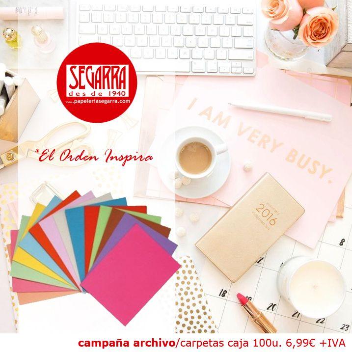 carpetas caja colores material de oficina http://papeleria-segarra.blogspot.com.es/2016/01/archivo-el-orden-inspira.html