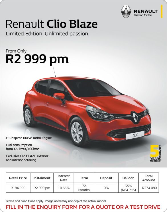 get a limited edition renault clio blaze now from only r2. Black Bedroom Furniture Sets. Home Design Ideas