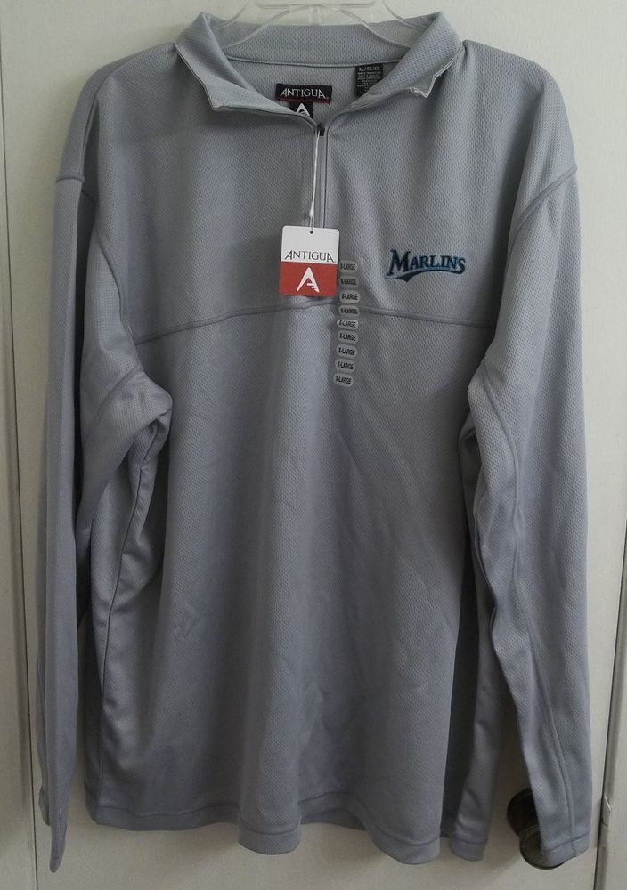 Miami Marlins Silver Antigua Men's Athletic Shirt Adult XL X-Large New w/ Tags #Antigua #FloridaMarlins
