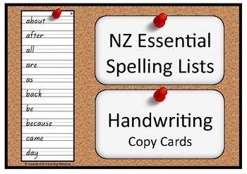 Handwriting copy cards for the NZ essential spelling lists 1-8.  10 words per card.  4 cards per A4 page.  35 cards (plus one bonus card)The font used is NZ Basic Script.  The letter/number shapes are the same as those recommended in the NZ Ministry of Education Handbook  Teaching Handwriting.