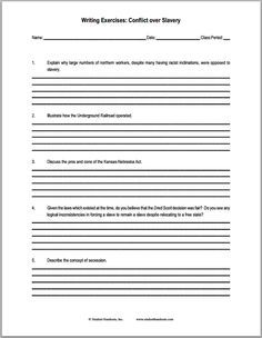 Conflict over Slavery Essay Questions - Free to print (PDF file).