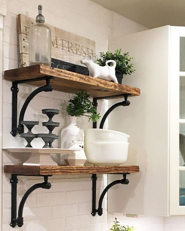 nice 88 Incredible DIY Kitchen Open Shelving Ideas https://homedecort.com/2017/05/88-incredible-diy-kitchen-open-shelving-ideas/