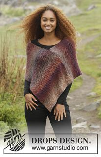 "Ember - Knitted DROPS poncho in moss st in 3 strands ""Delight"" or ""Alpaca"". Size: S - XXXL. - Free pattern by DROPS Design"