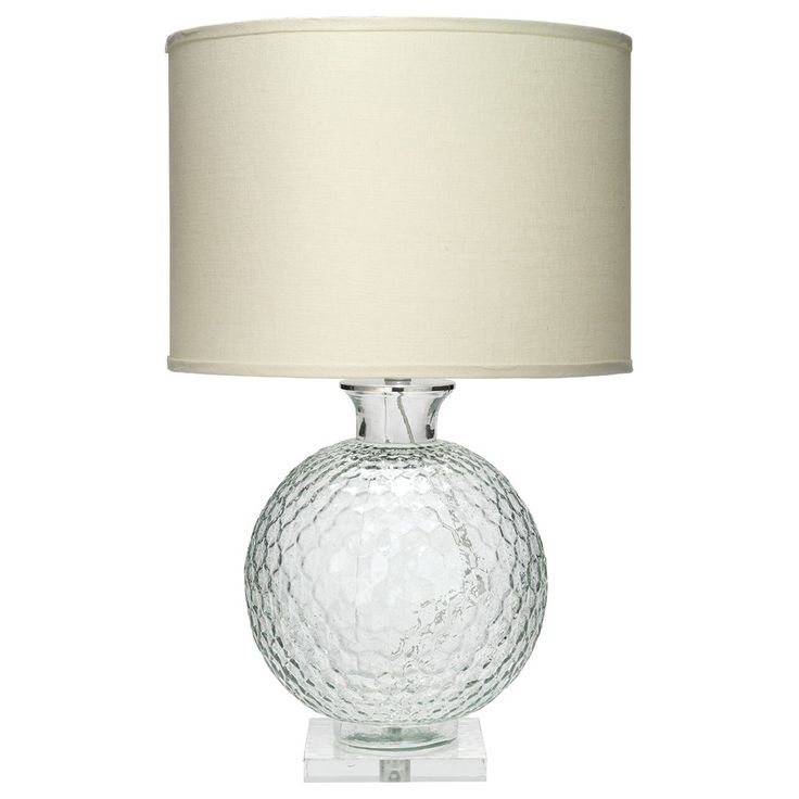Faceted Glass Globe Table Lamp with Drum Shade – Clear