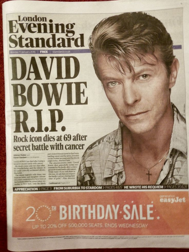 David Bowie R.I.P | Front page of the London Evening Standard newspaper, Monday 11 January 2016. David Bowie dies at 69 after secret battle with cancer.  I was walking to work early this morning, battling through the wind and rain. By the time I got to work at my office near London Bridge I had two missed calls, a voicemail message and several text messages on my mobile phone. My sister Debbie Batstone had sent me a text message: 'Paul tell me it's not true.'  Shor...
