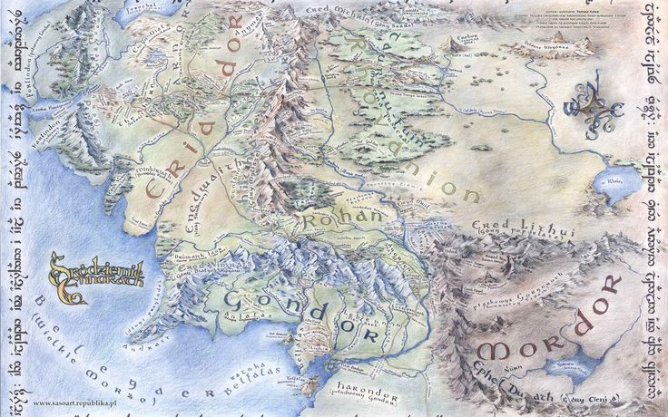 Large detailed map of Middle-earth Desktop wallpapers 1920x1080