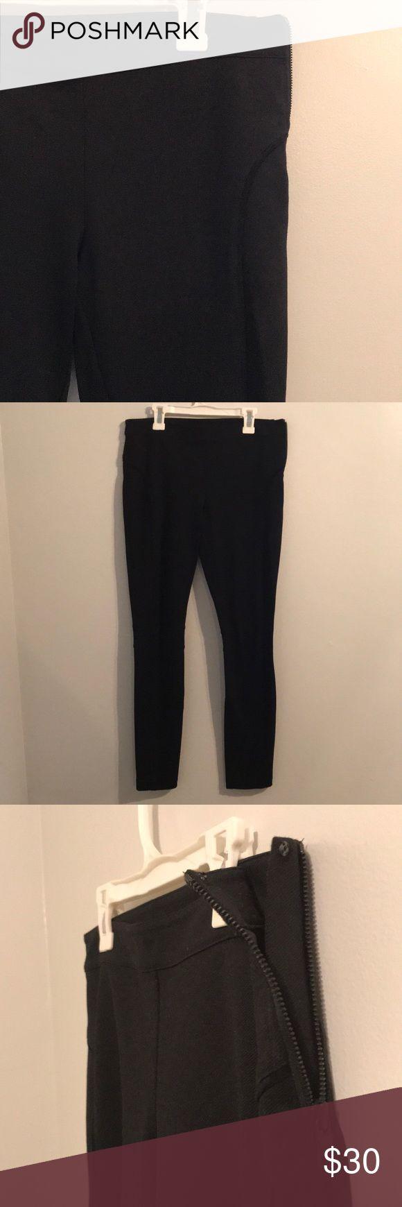 Armani Leggings Black Armani Exchange Leggings Left hip zip closure with c hook Never worn Armani Exchange Pants Leggings