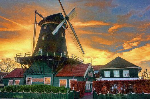 Nadia Sanowar - sunset,amsterdam,windmill