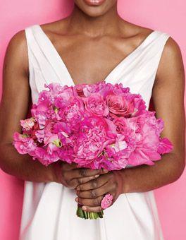 Brides: Romantic Hot Pink Wedding Bouquet