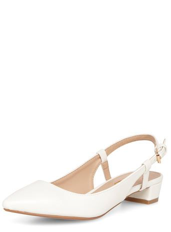 White block heel pointed court shoes