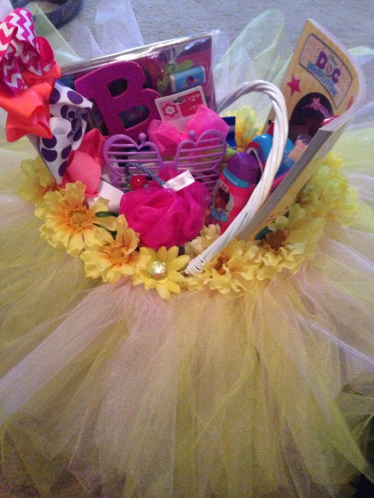 74 best gift ideas images on pinterest easter baskets easter easter basket for girls pink and yellow tulle i made this for my old goddaughter negle