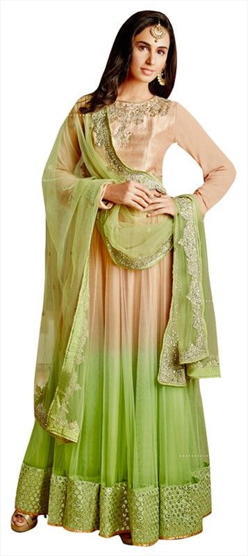 433848, Anarkali Suits, Silk, Bhagalpuri, Resham, Stone, Lace, Green, Beige and Brown Color Family