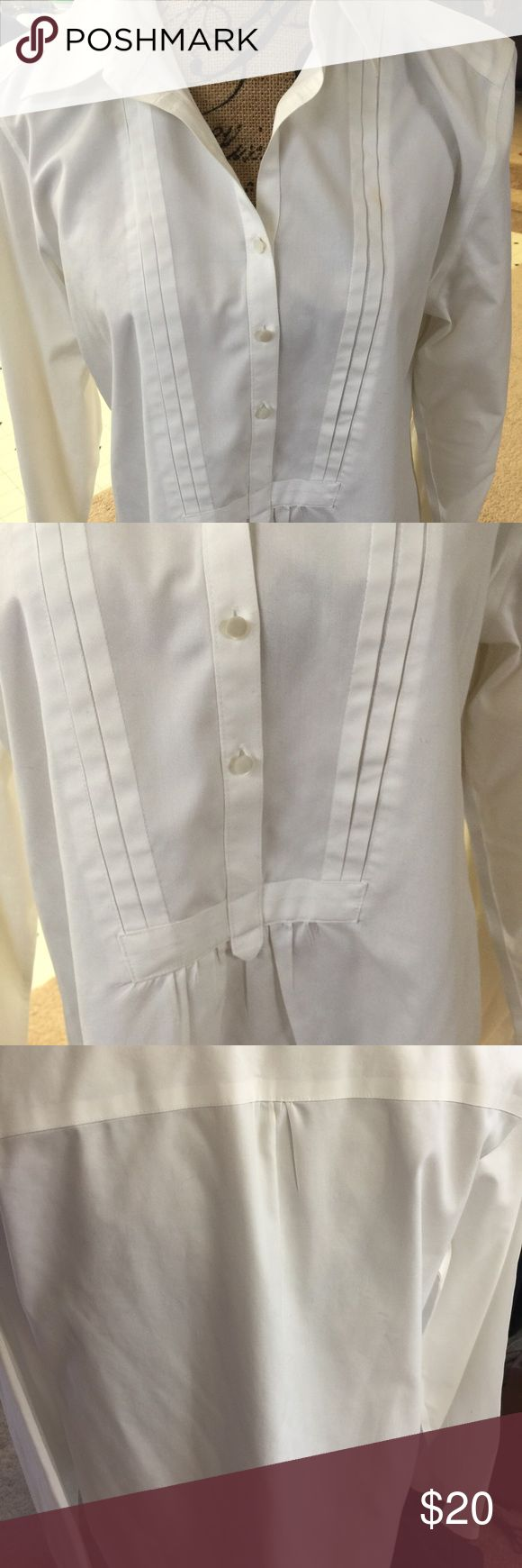 Coldwater Creek Blouse is a size L (14-16) This white crisp blouse is a Coldwater Creek size L (14-16) in almost new condition. Long sleeves no iron blouse  gathered at front of waist . Coldwater Creek Tops Blouses