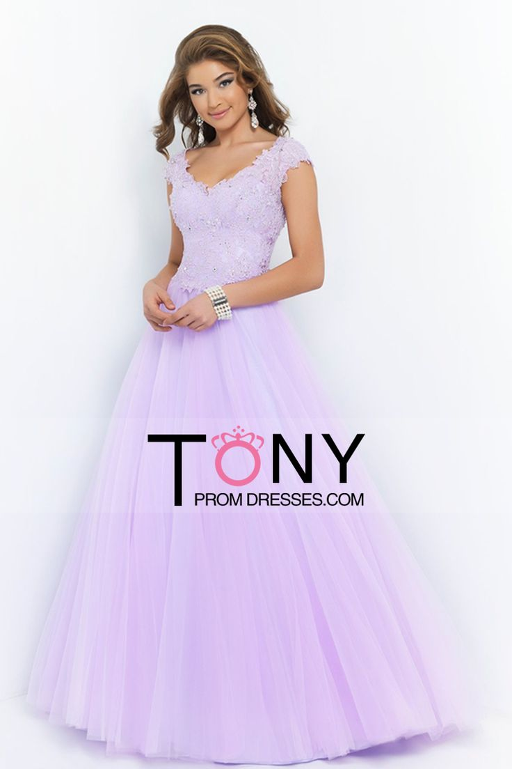 2015 V Neck A Line/Princess Prom Dress Tulle With Applique And Beads