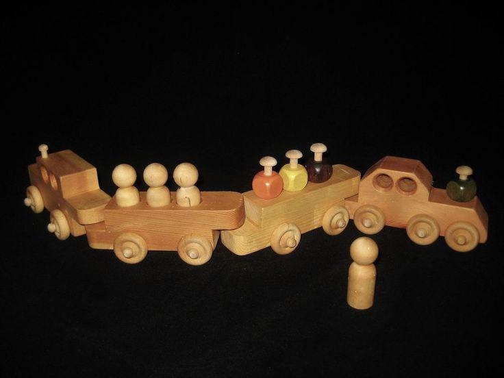 Handmade Wooden Train 4 Cars Plus 4 People The Junior Achievement Express IOB #JuniorAchievementCompany