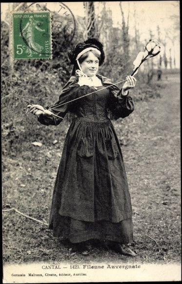 Postcard Cantal Auvergne, Une Fileuse Auvergnate en costume  postally used 1916