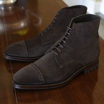 Handmade Men's Ankle Boot, Men's Dark Brown Suede Cap Toe Casual Lace Up Boot. from leatherworld2014