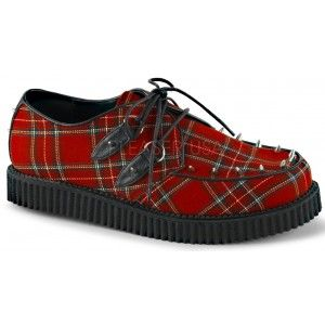 Red Plaid Mens Creeper Loafer with Studs - New at GothicPlus.com - your source for gothic clothing jewelry shoes boots and home decor. #gothic #fashion #steampunk
