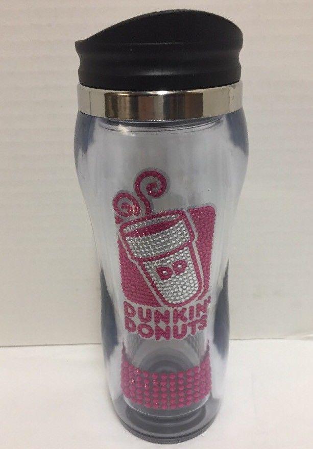 bfdb2f01733 Dunkin Donuts Malibu Crystal Tumbler Travel Coffee Mug Pink Sequins  #DunkinDonuts