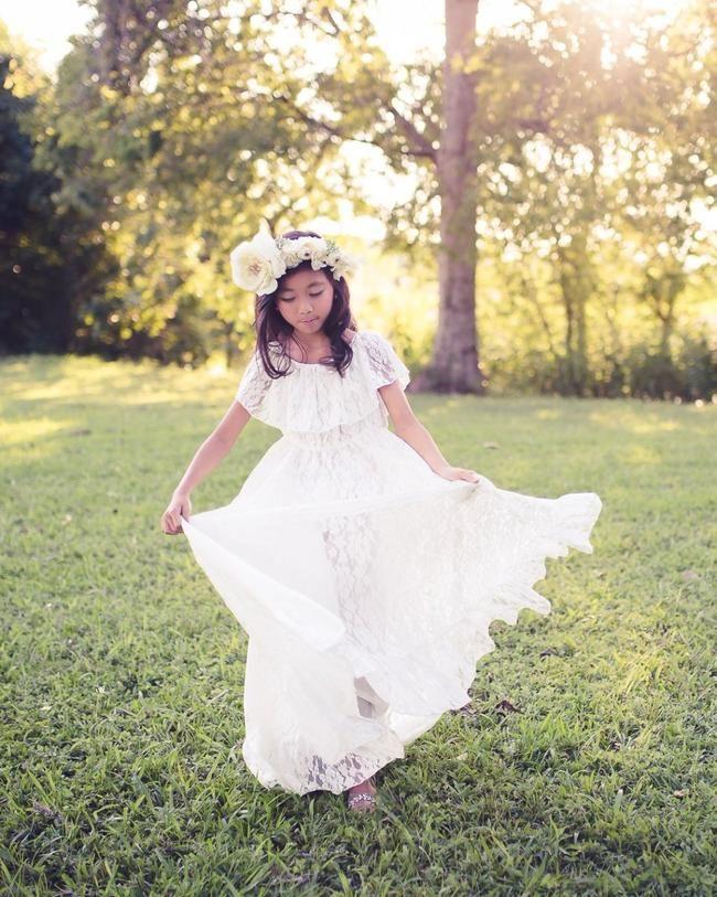 5f741fc115c boho white lace off shoulder flower girl dress - Belle   Kai