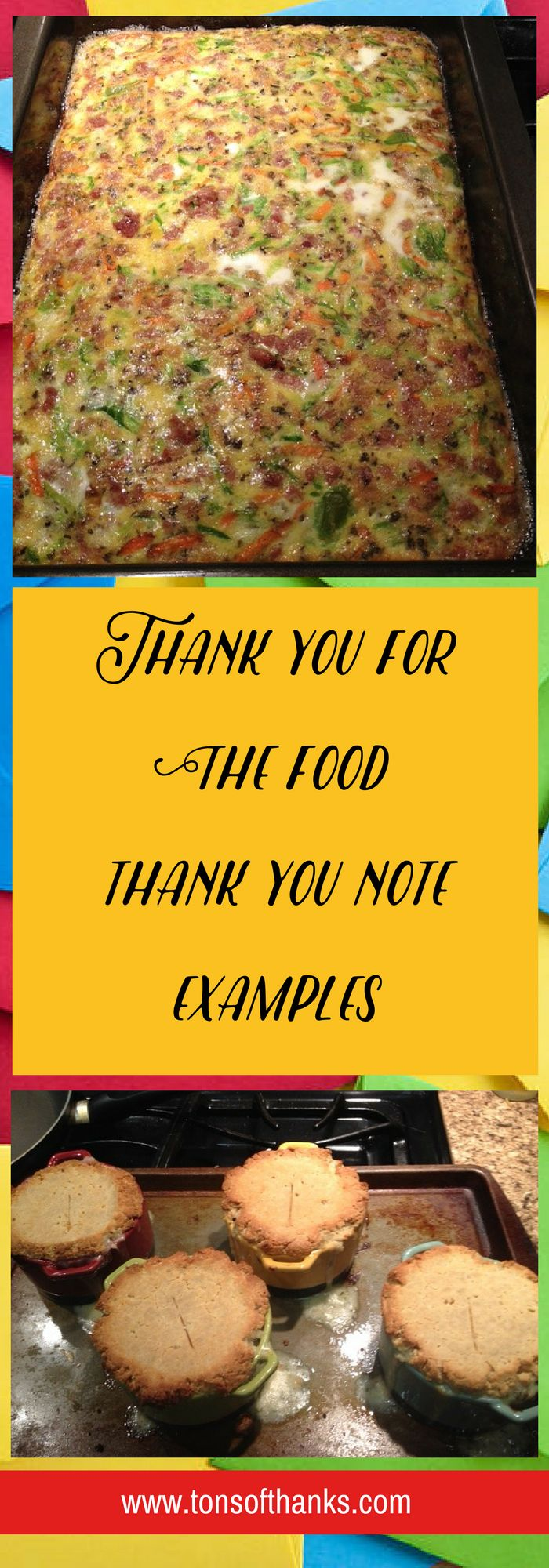 wedding shower thank you note for gift card%0A Thank you for the food thank you note examples  Take a few minutes to thank
