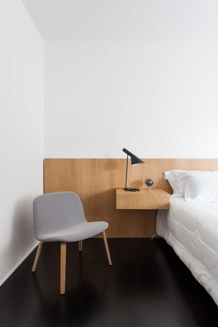Modern Furniture // Simple Modern Wood Bed Paired With A Built In Side Table  And · Minimalist ...