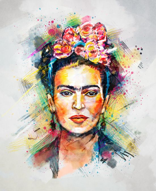 BUY: http://society6.com/product/frida-kahlo-7sy_print?curator=4thecrime  Frida Kahlo Art Print